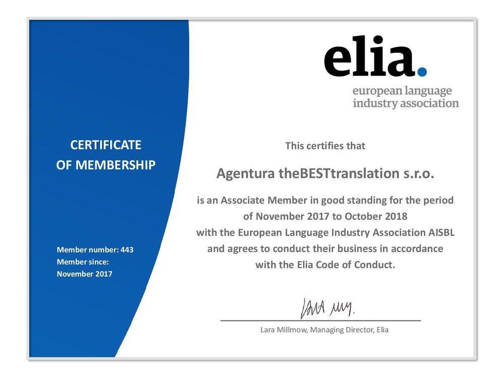 Elia membership certificate